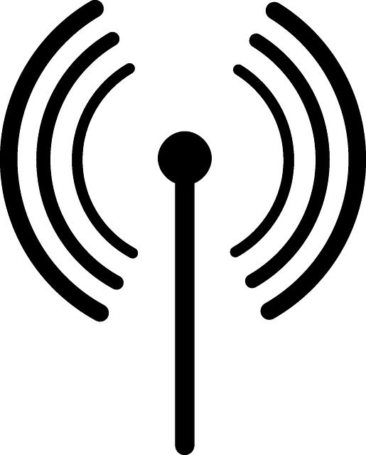 pictogramme d'une antenne symbolisant les champs électromagnétiques et les hyperfréquences